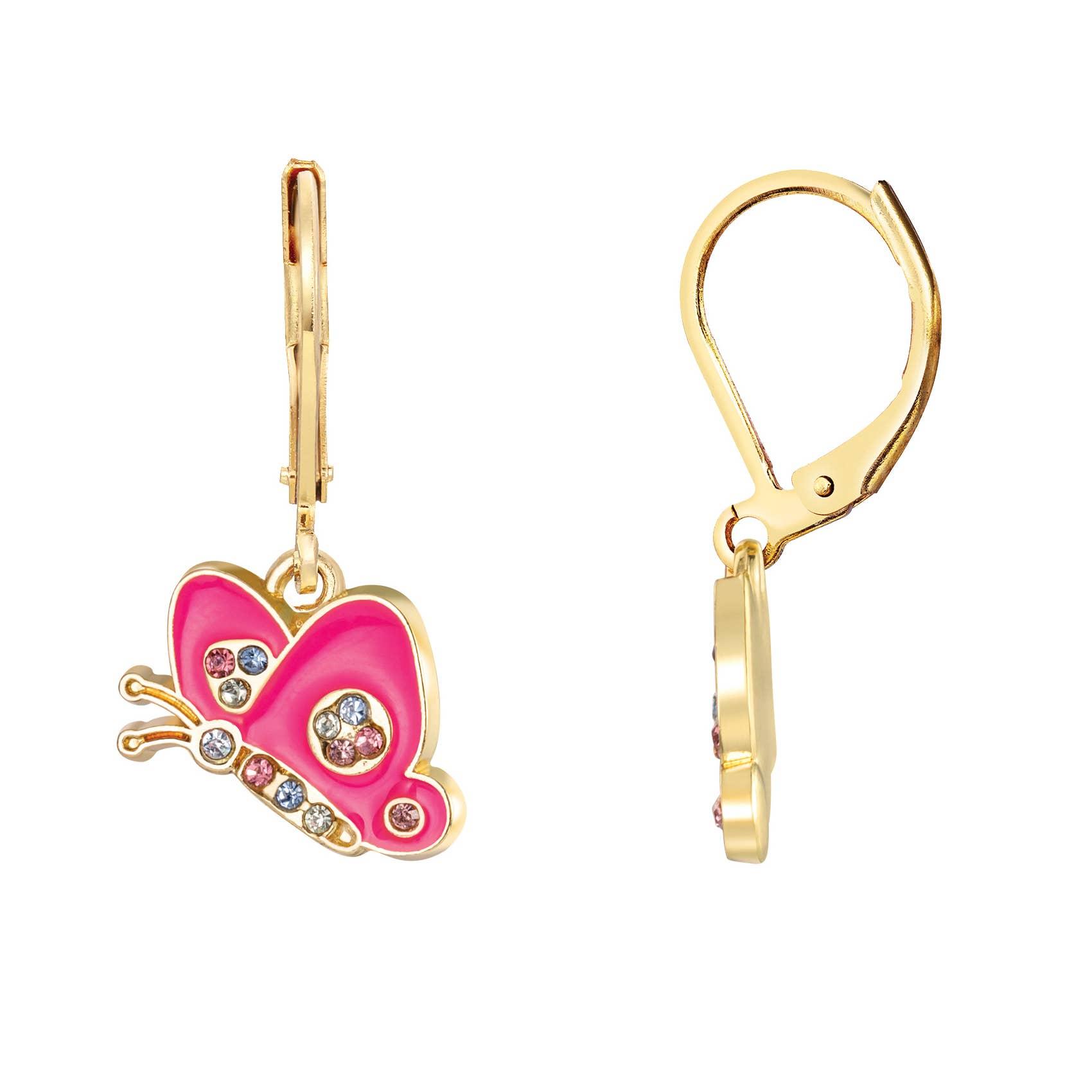 Crystal Butterfly Lever Back Earrings | Trada Marketplace