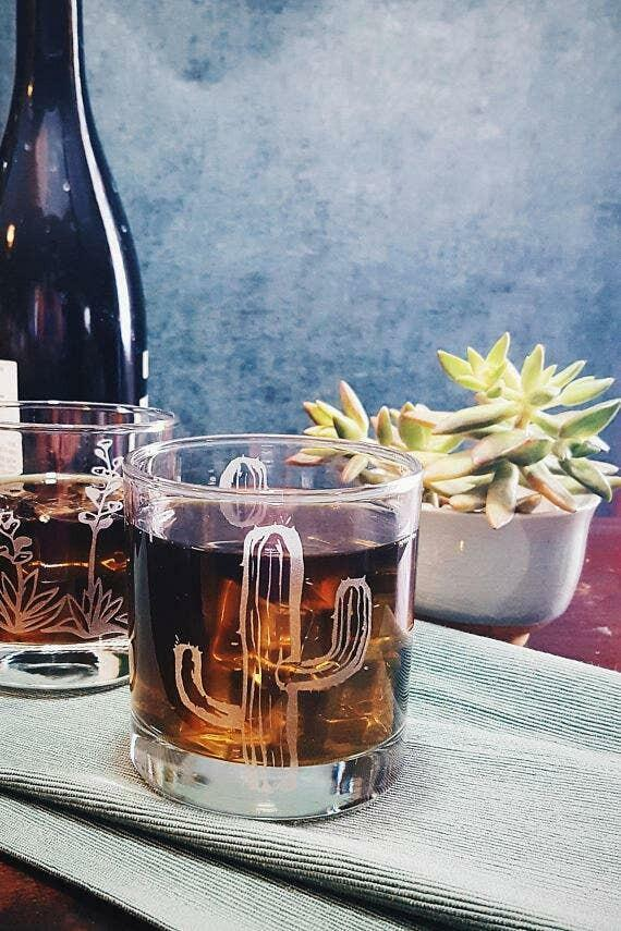 Cactus Etched Whiskey Glass   Trada Marketplace