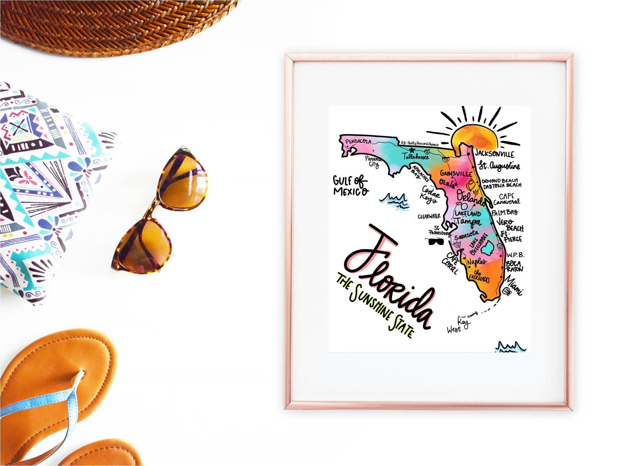 11 x 14 Florida Map Print | Trada Marketplace