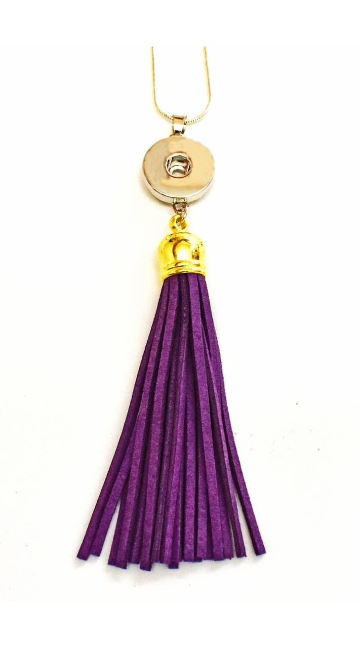 Snap Jewel Tassel Necklace - Purple | Trada Marketplace