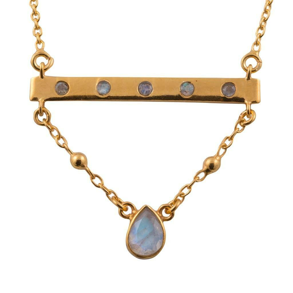 20% OFF Bridged Rainbow Moonstone Vermeil Bar Necklace   Trada Marketplace