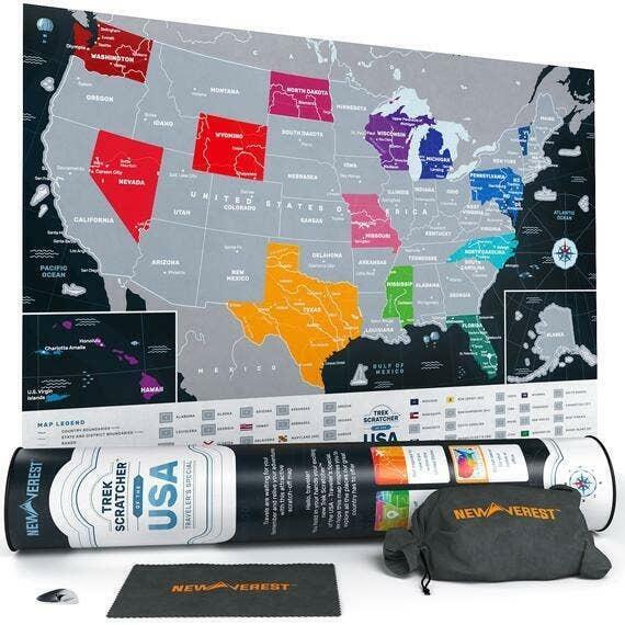 "Newverest Scratch Off USA Map Traveler's Special 24"" x 17"" | Trada Marketplace"