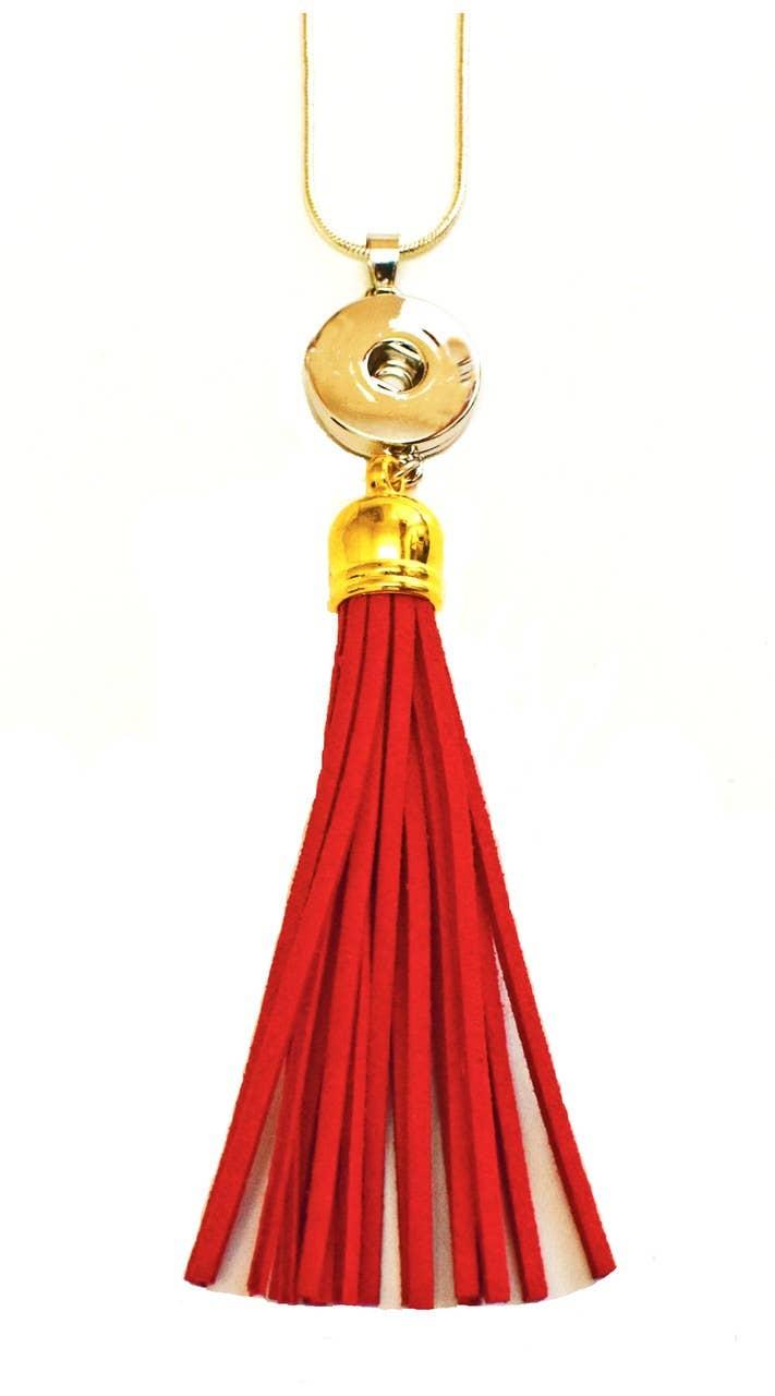 Snap Jewel Tassel Necklace - Red | Trada Marketplace