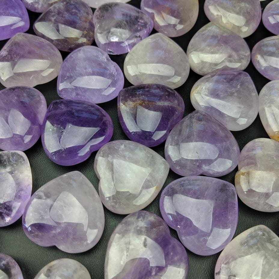 Amethyst Puffy Crystal Pocket Hearts   Trada Marketplace