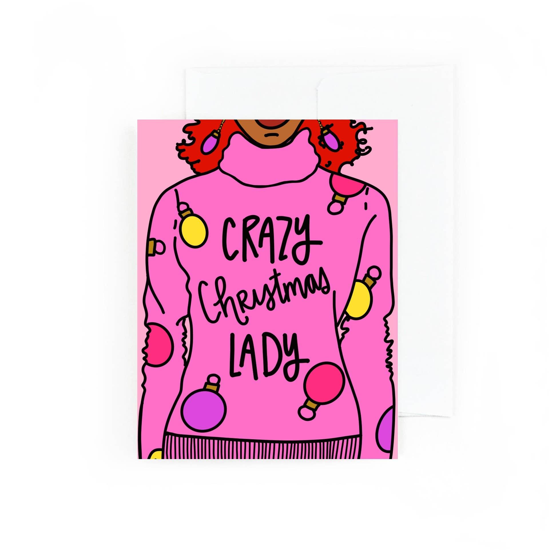 Crazy Christmas Lady , Holiday Greeting Card | Trada Marketplace