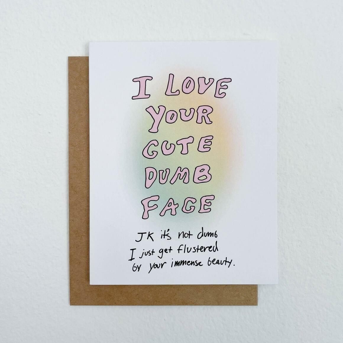 Cute Dumb Face   Greeting Card   Trada Marketplace