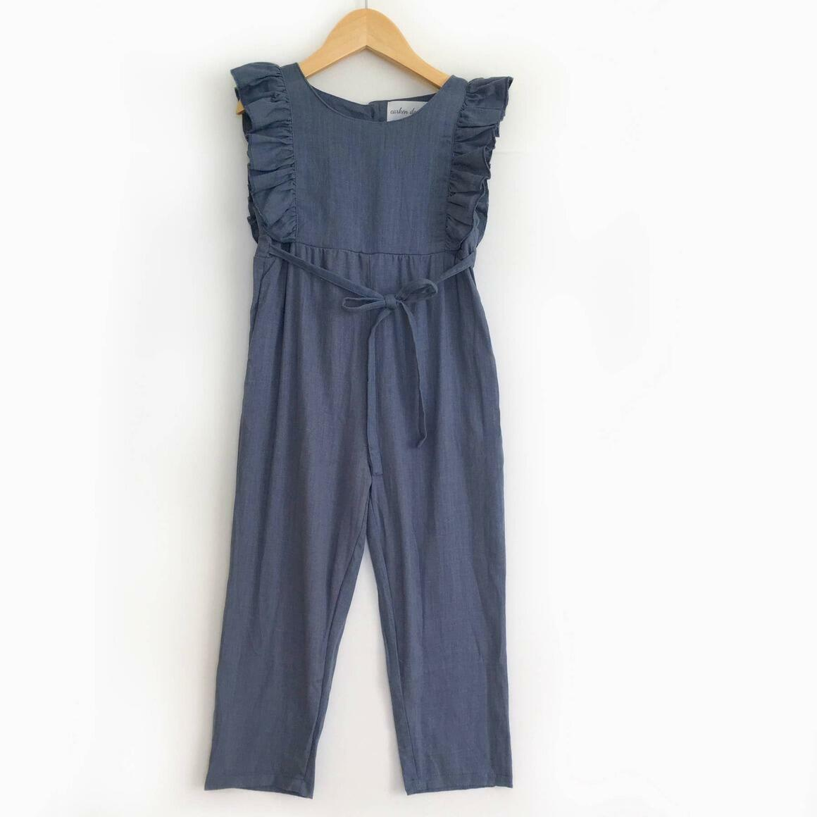 Navy Blue Linen Ruffle Romper with Pants - PREORDER | Trada Marketplace
