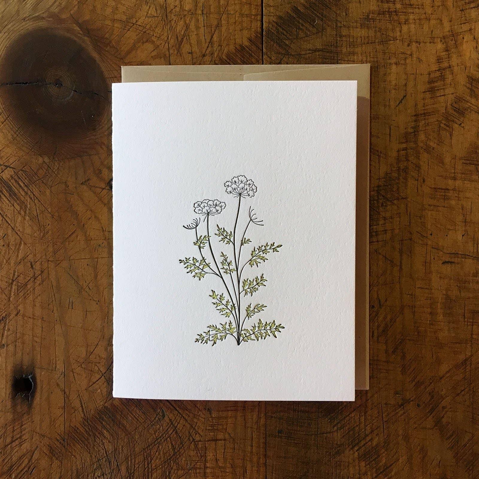 Queen Anne's Lace Wildflower Letterpress Card | Trada Marketplace
