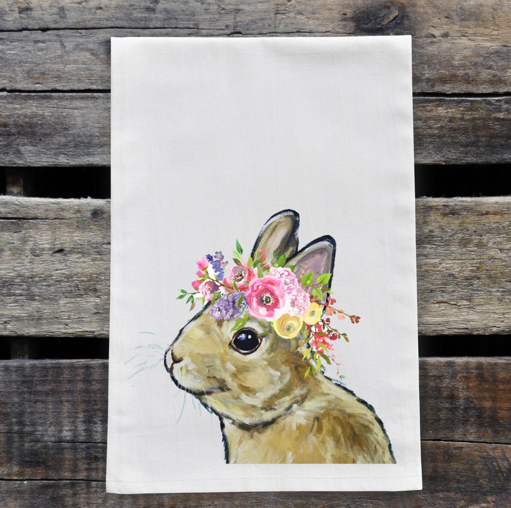 Spring Flower Brown Bunny Tea Towel, Rabbit Towel Decor   Trada Marketplace