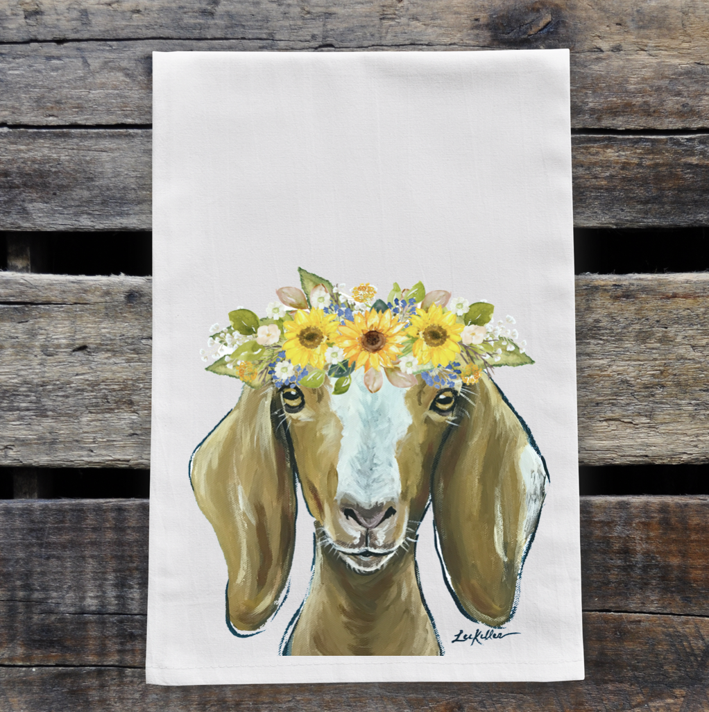 Goat Flour Sack Towel, Sunflower Decor, Goat Tea Towel   Trada Marketplace