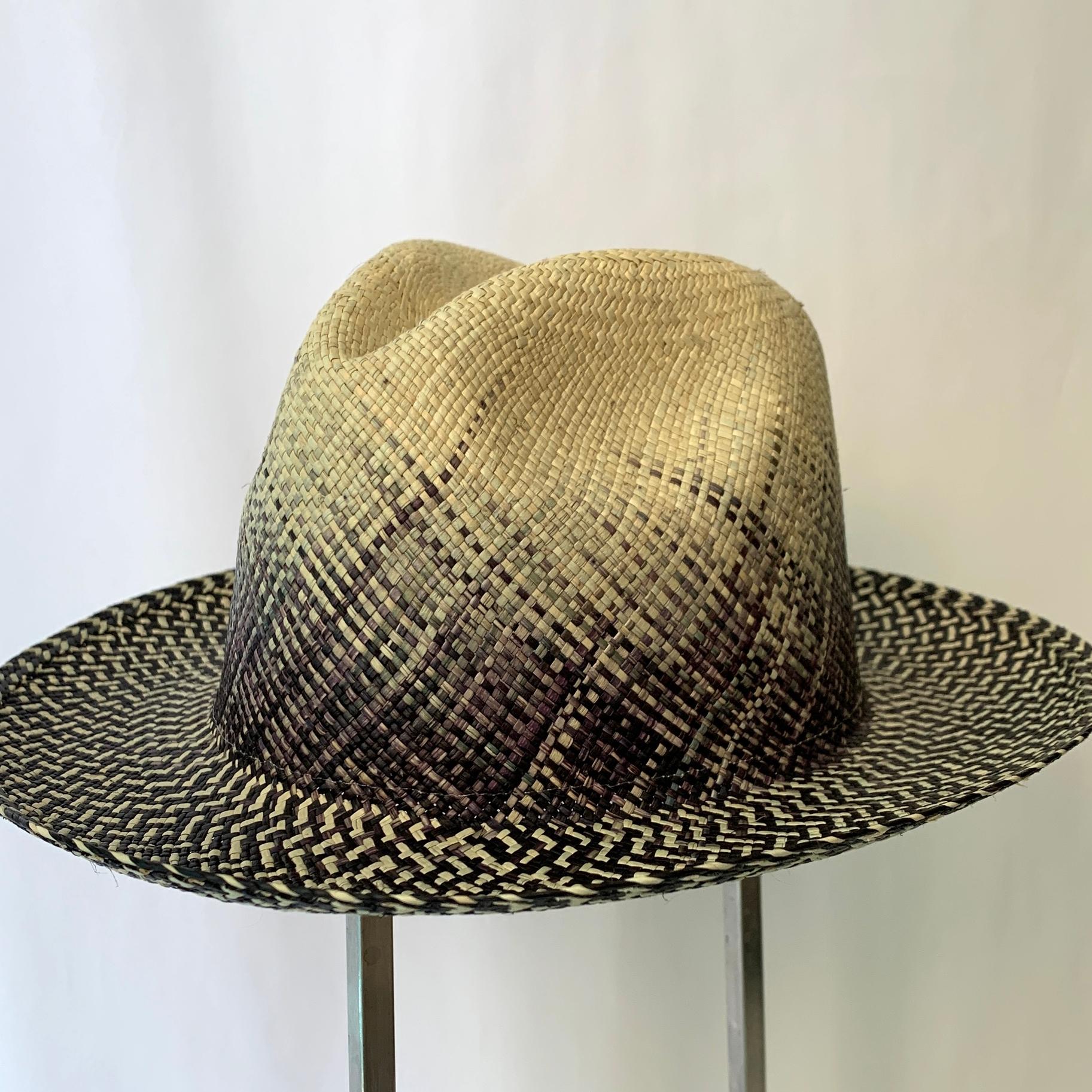 Lemloreli - Ombre Weave Hat - Natural/Navy | Trada Marketplace