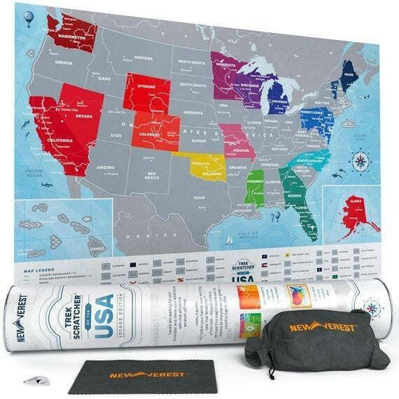 """Newverest Scratch Off USA Map Voyage Edition 24"""" x 17"""" 