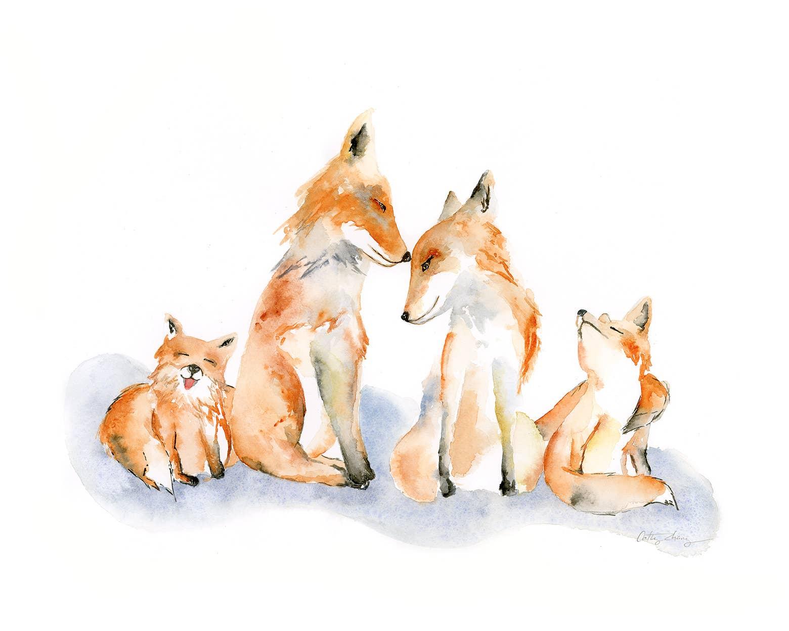Fox Family Watercolor Art Print | Trada Marketplace