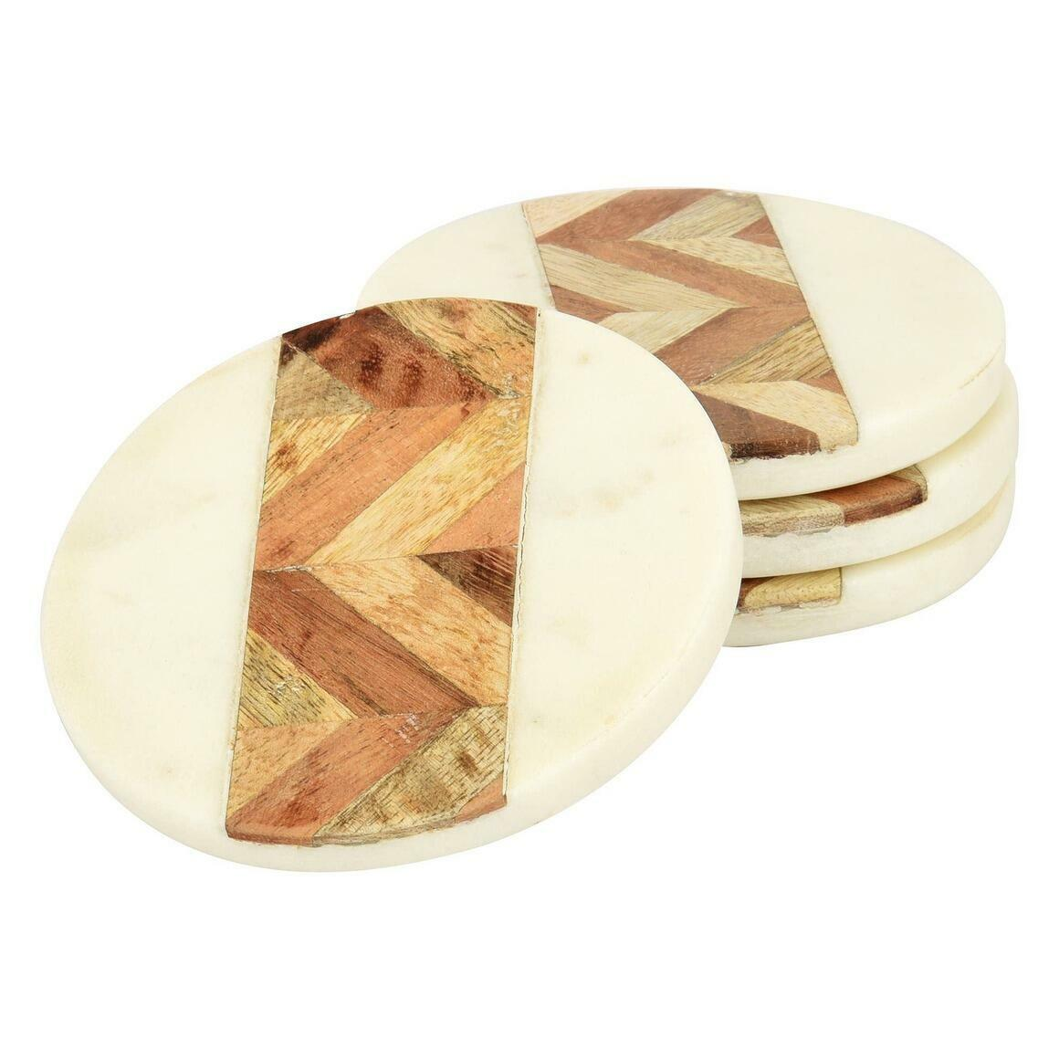 Cleo Marble & Wood Coasters (Set of 4)   Trada Marketplace