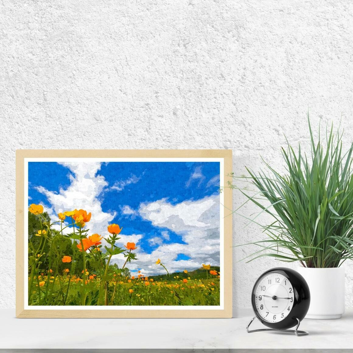 """California Poppies Under Blue Skies"" Fine Art Print | Trada Marketplace"