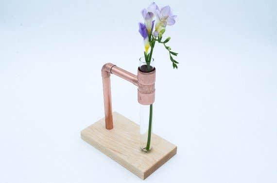 Maple Glass Flower Vase Copper Wood | Trada Marketplace