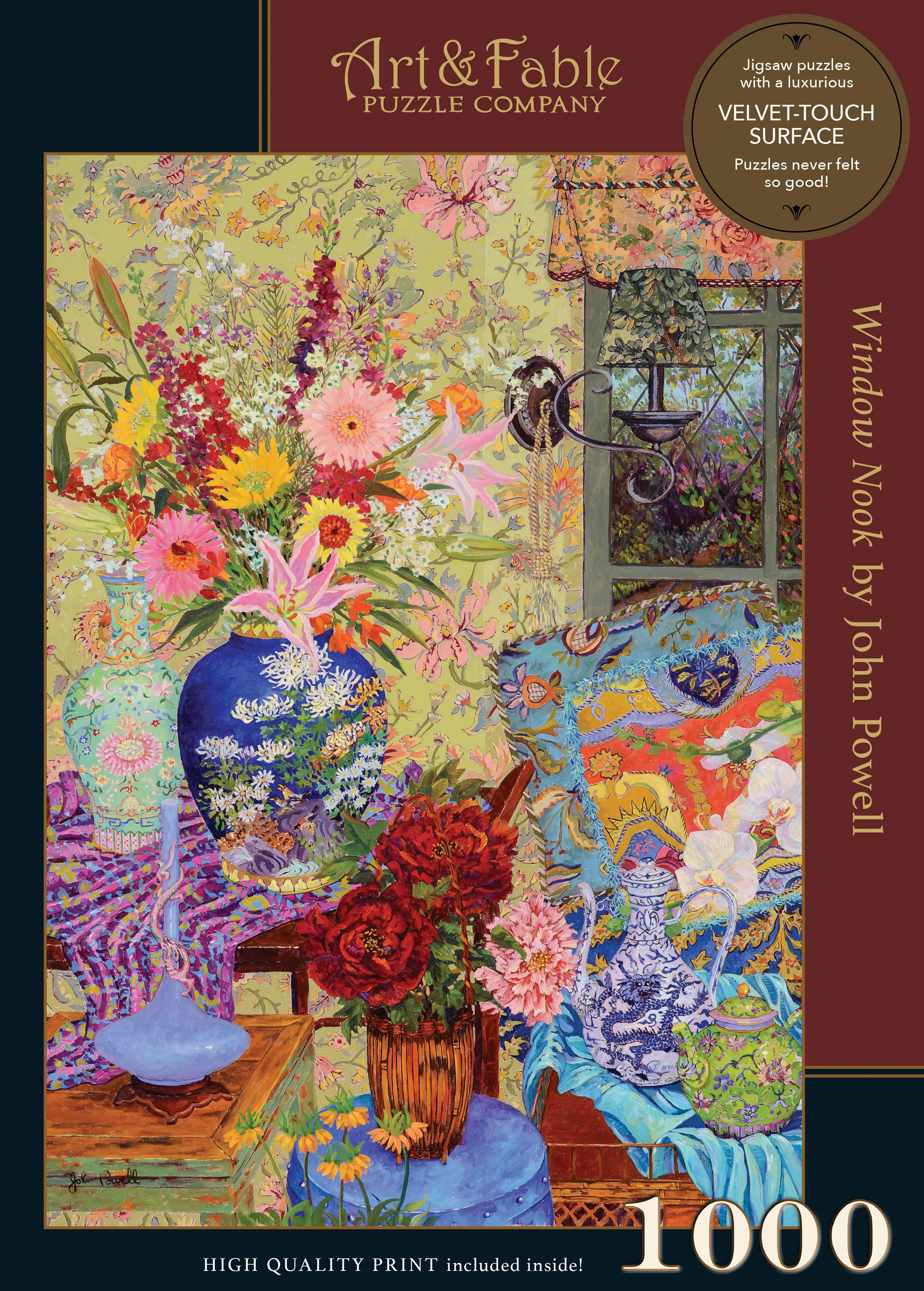 Window Nook, 1000-pc Velvet-Touch Jigsaw Puzzle featuring the art of John Powell | Trada Marketplace