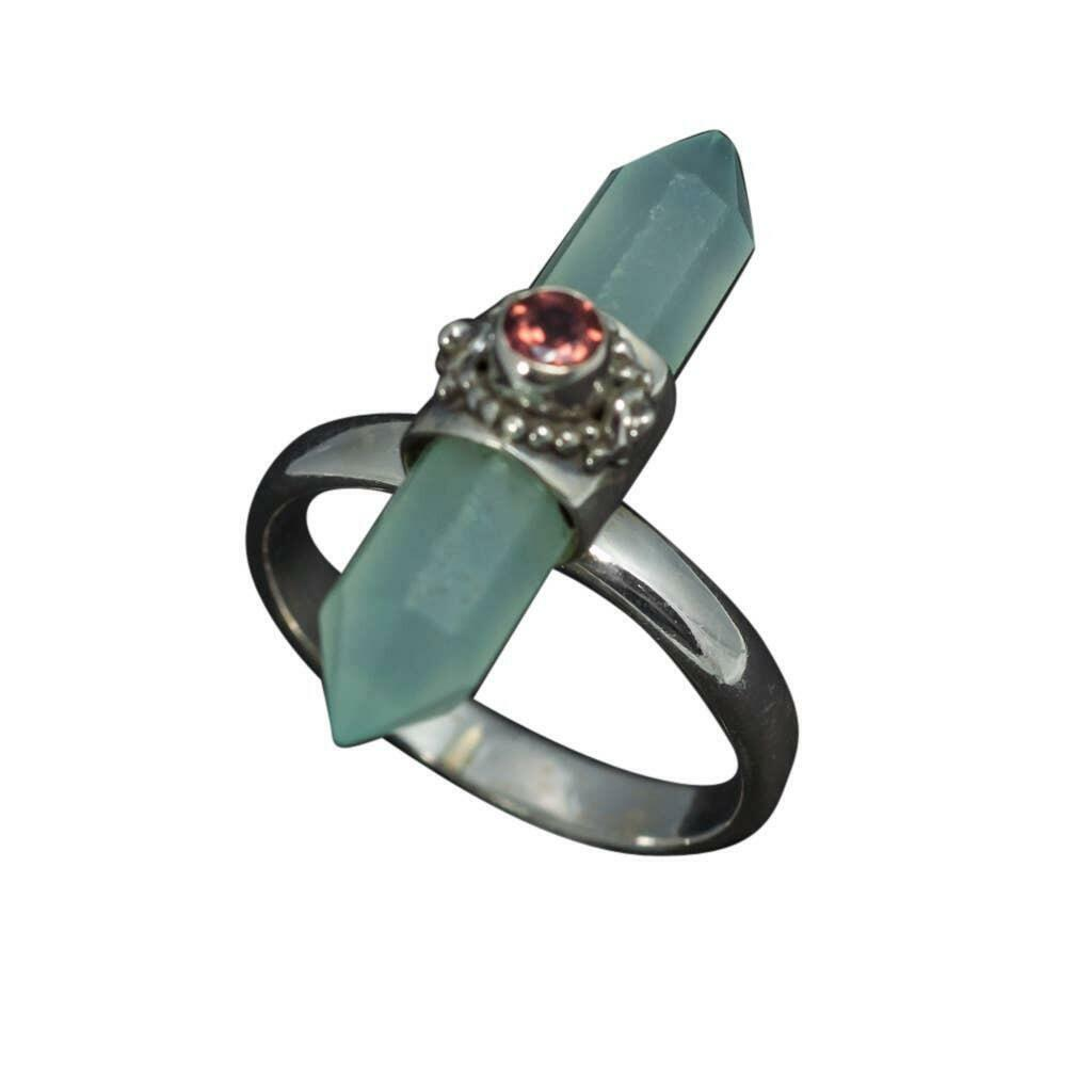20% OFF Appointed Chalcedony Point With Garnet Sterling Ring   Trada Marketplace