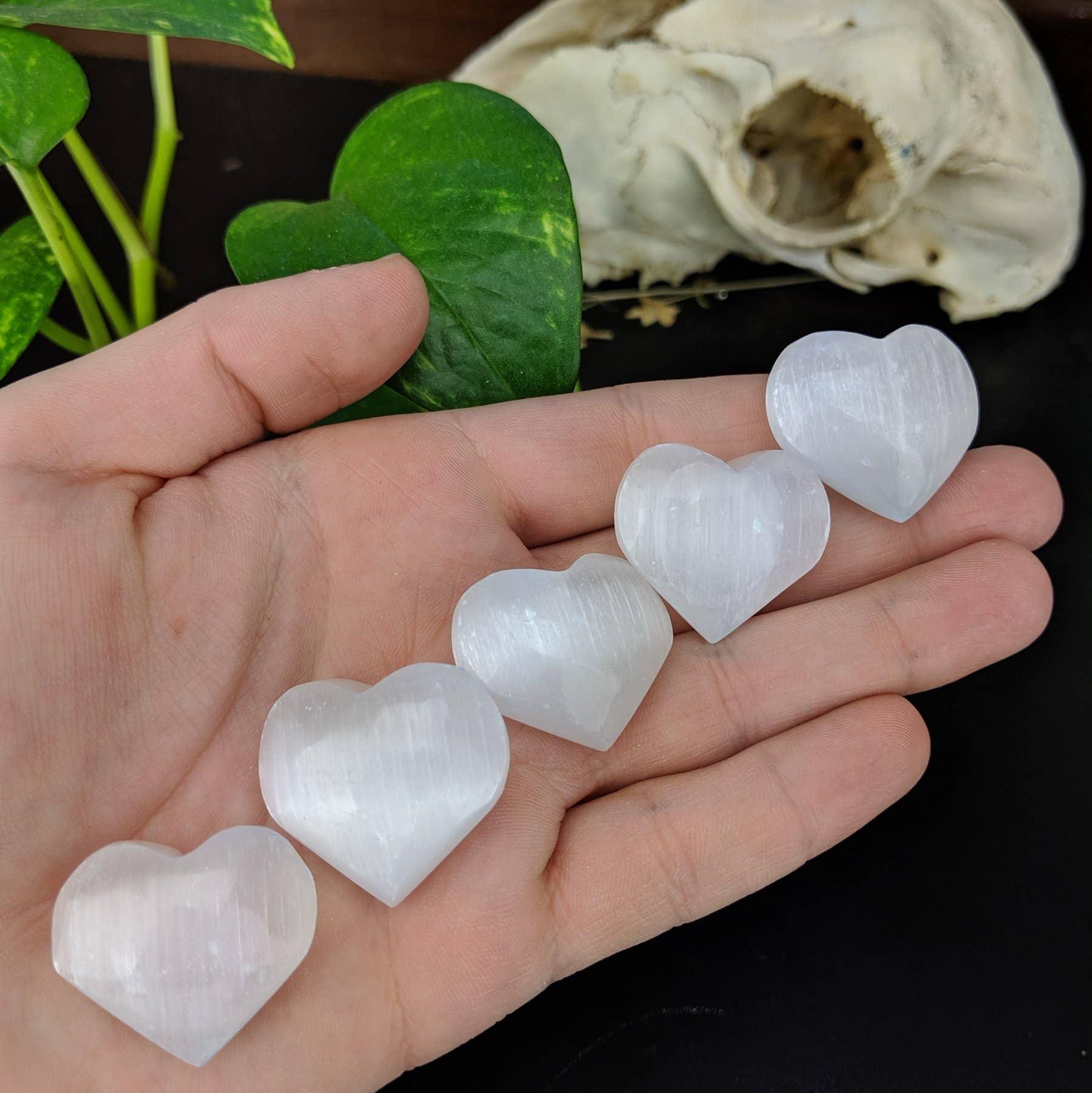 Selenite/Satin Spar Crystal Pocket Hearts   Trada Marketplace