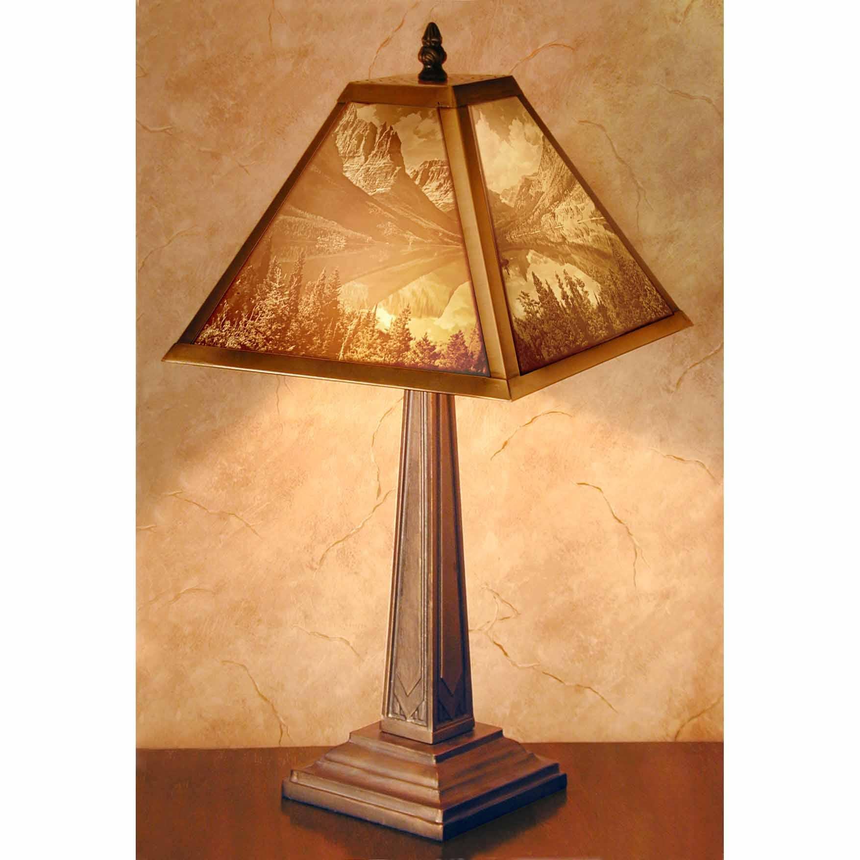 "Mission Style Lithophane Table Lamp ""Mountain Lake""   Trada Marketplace"