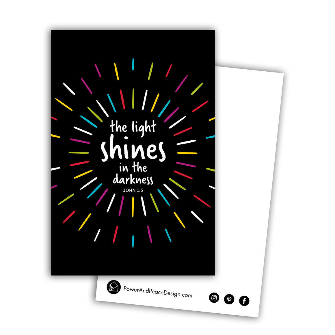 John 1:5 postcard in black + multicolor   Trada Marketplace