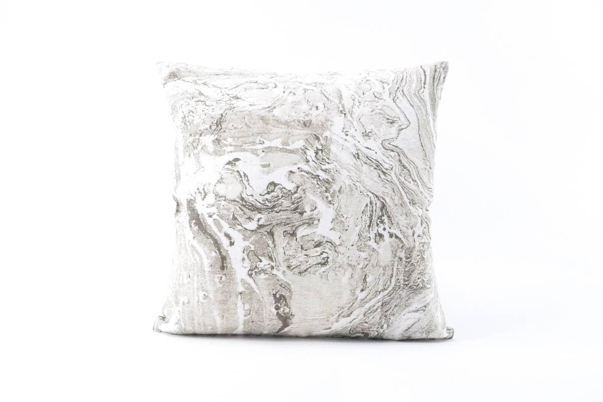 Grey Marbled Linen Pillow   Trada Marketplace