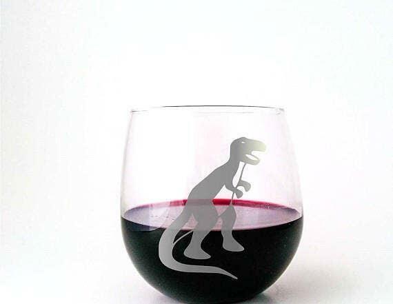 Trex Dinosaur Stemless Wine Glass   Trada Marketplace