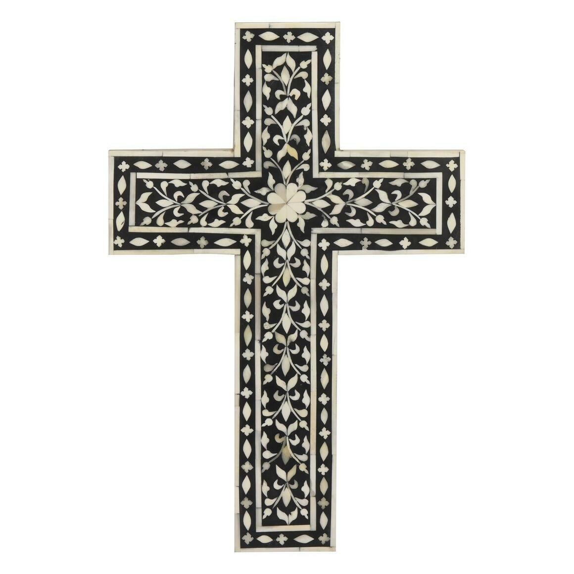 Jodhpur Bone Inlay Decorative Wall Cross in Midnight Black   Trada Marketplace