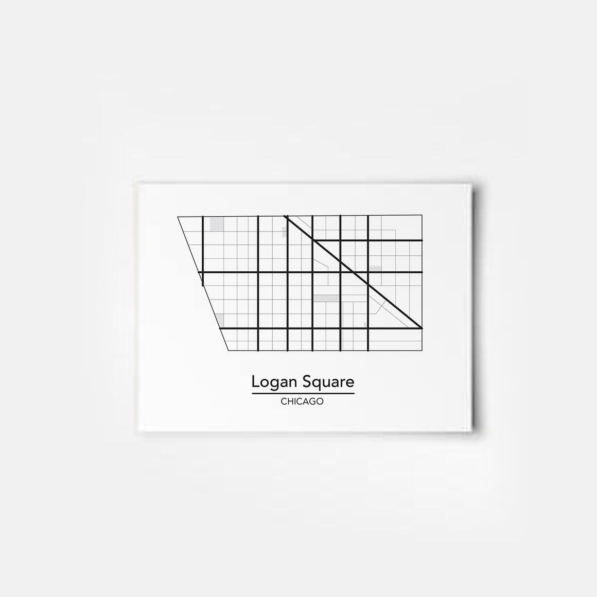 Logan Square - Chicago Neighborhood Map Print | Trada Marketplace
