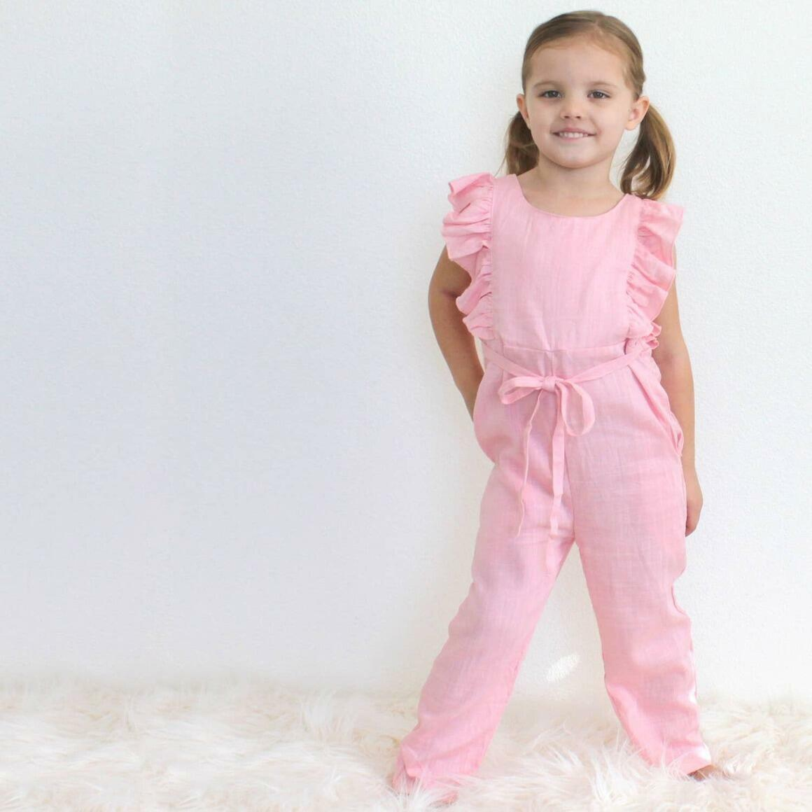 Light Pink Linen Ruffle Romper with Pants | Trada Marketplace