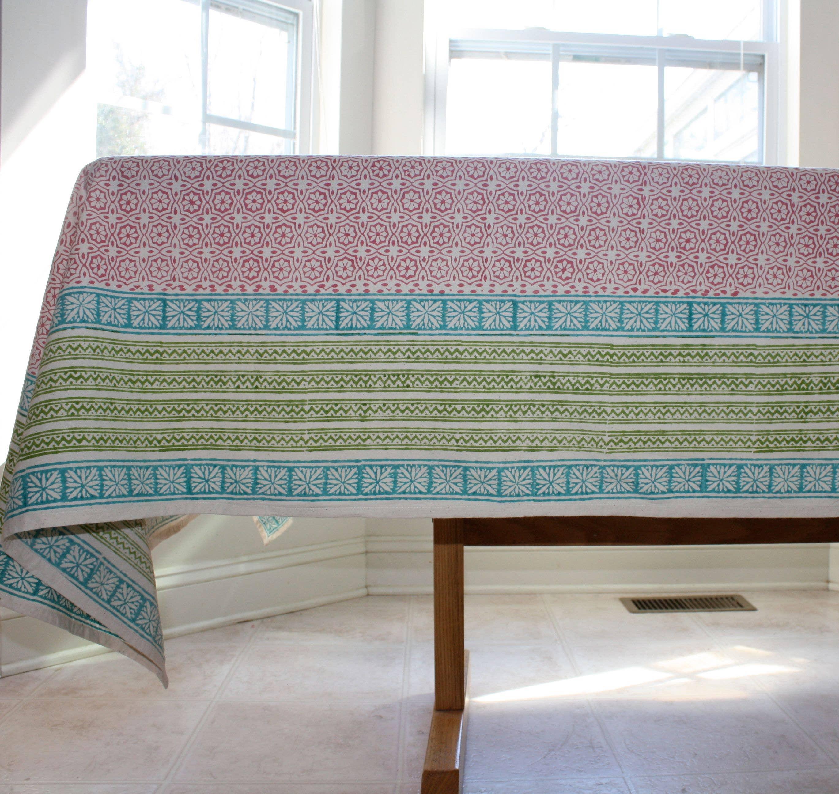 DELIGHT SUNRISE Tablecloth Hand Block Printed Cotton | Trada Marketplace