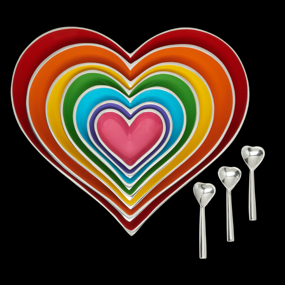 Rainbow Seven Hearts Set with 3 Heart Spoons   Trada Marketplace
