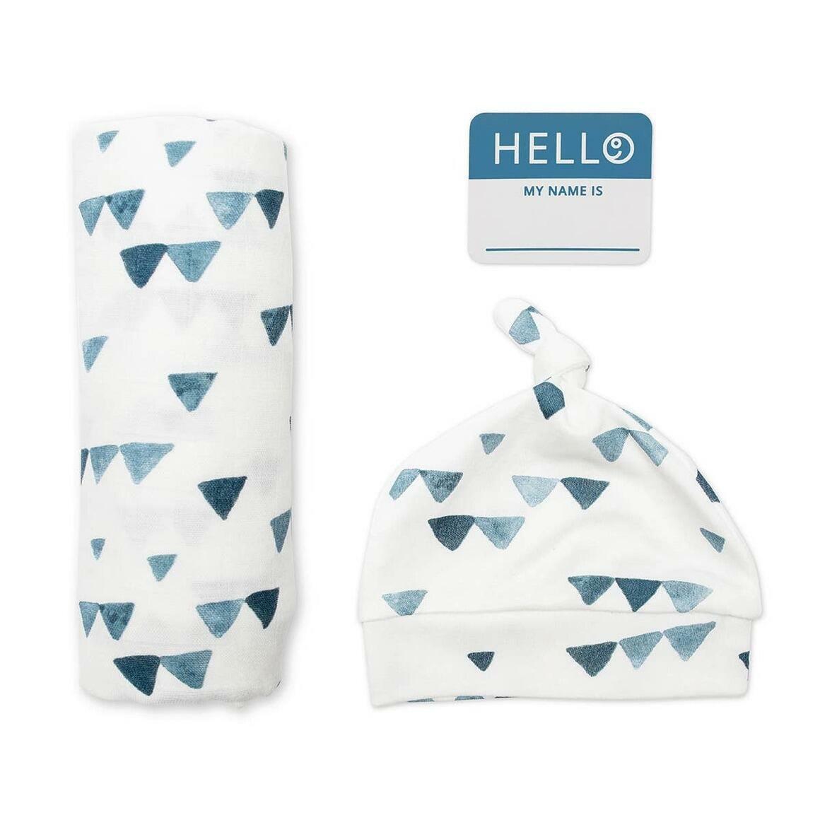 Triangle BlueSwaddling Blanket & Matching Hat   Trada Marketplace