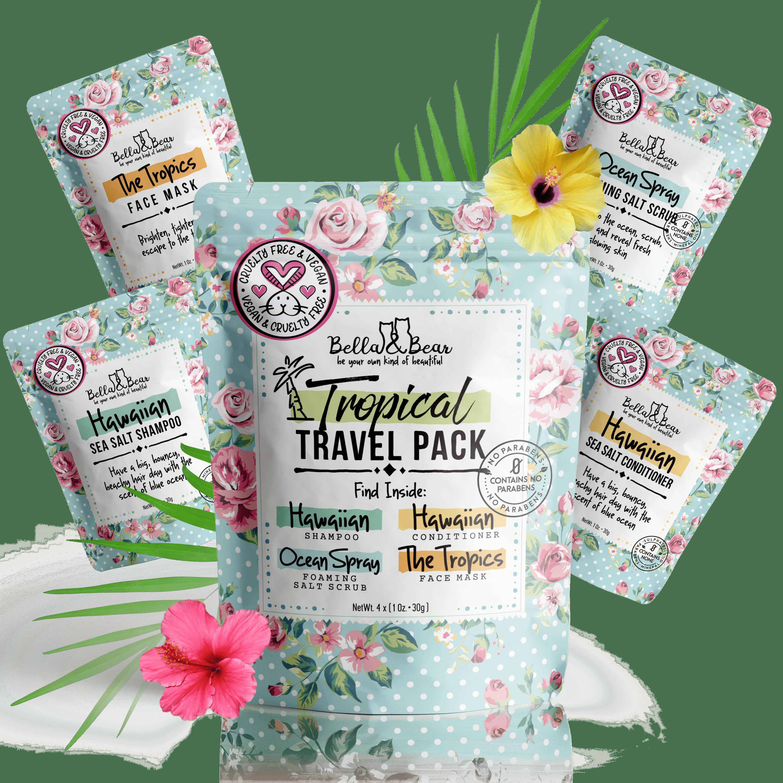 1oz Travel Pack Shampoo, Conditioner, Body Scrub & Face Mask   Trada Marketplace