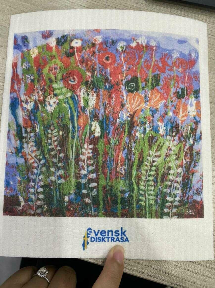Painted Flowers in the Wind Swedish Dishcloth   Trada Marketplace