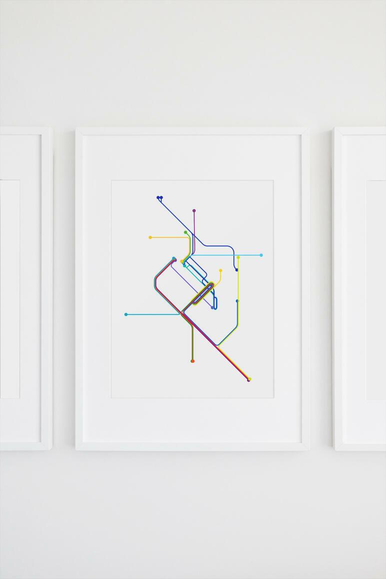 Denver Rail Transit Map Print   Trada Marketplace
