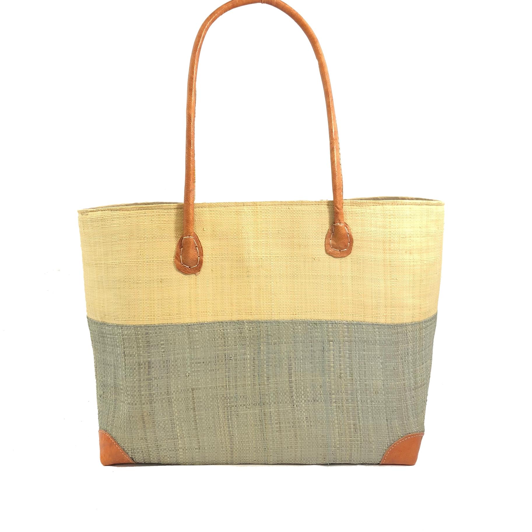 Trinidad Two Tone Straw Basket - Grey | Trada Marketplace