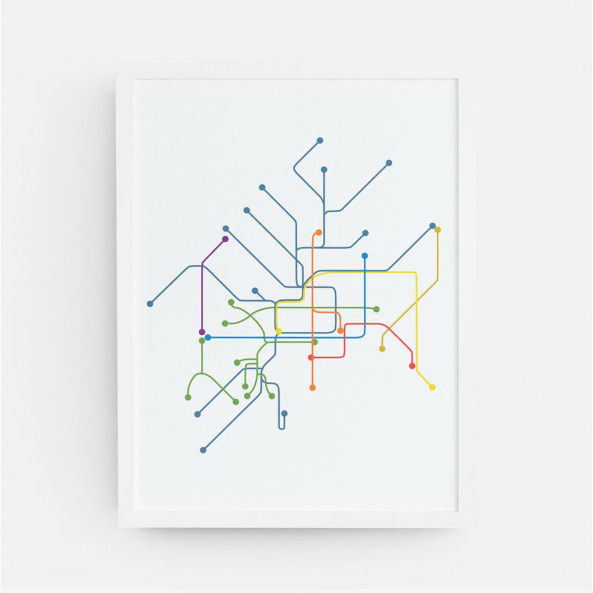 Philadelphia Rail Map Print   Trada Marketplace