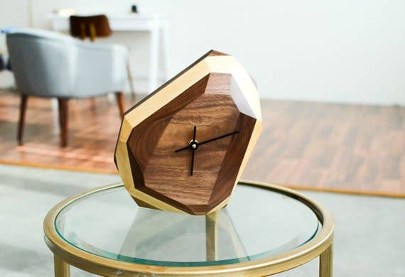 Black Walnut with White Geometric Clock | Trada Marketplace