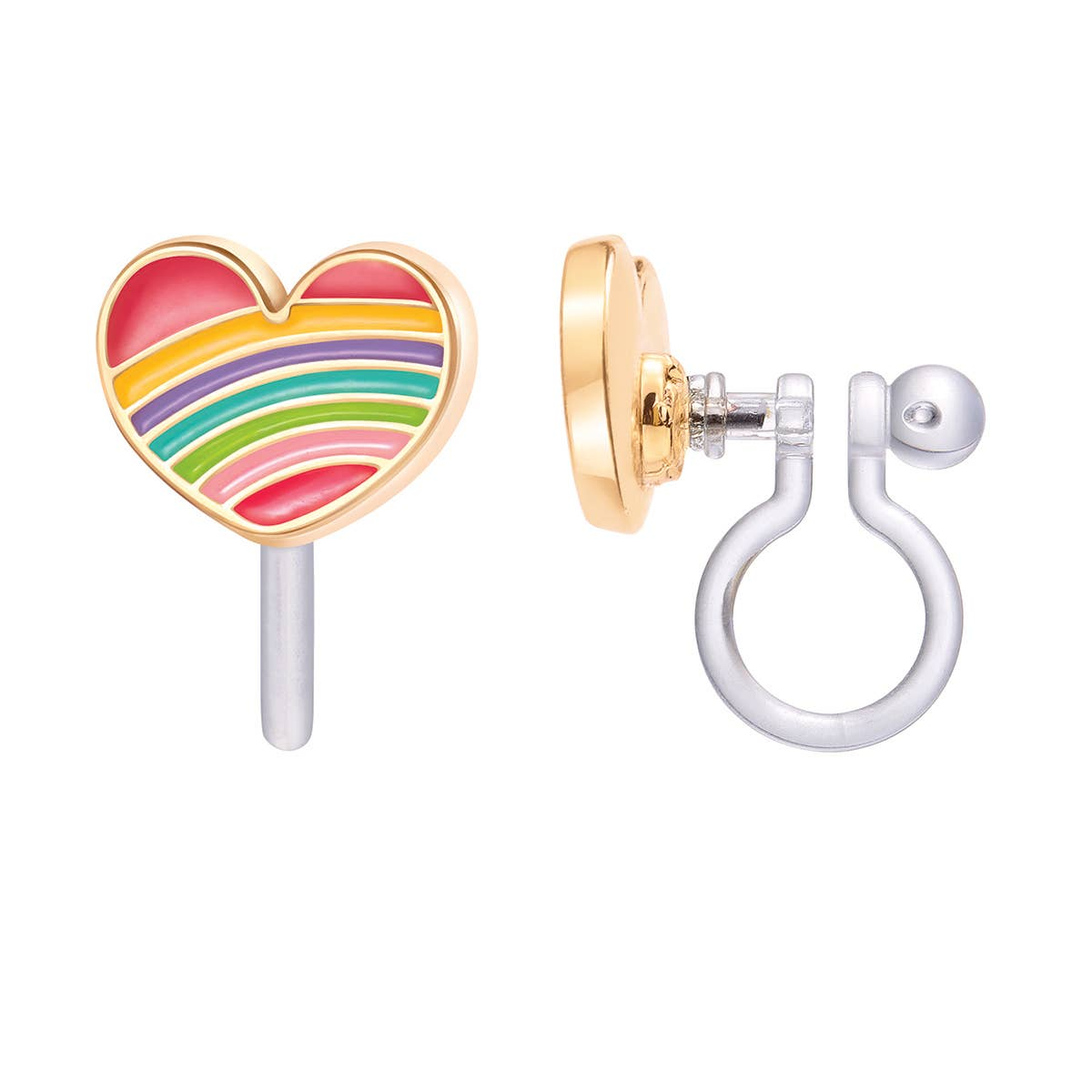 CLIP ON Cutie Earrings- Rainbow Heart | Trada Marketplace
