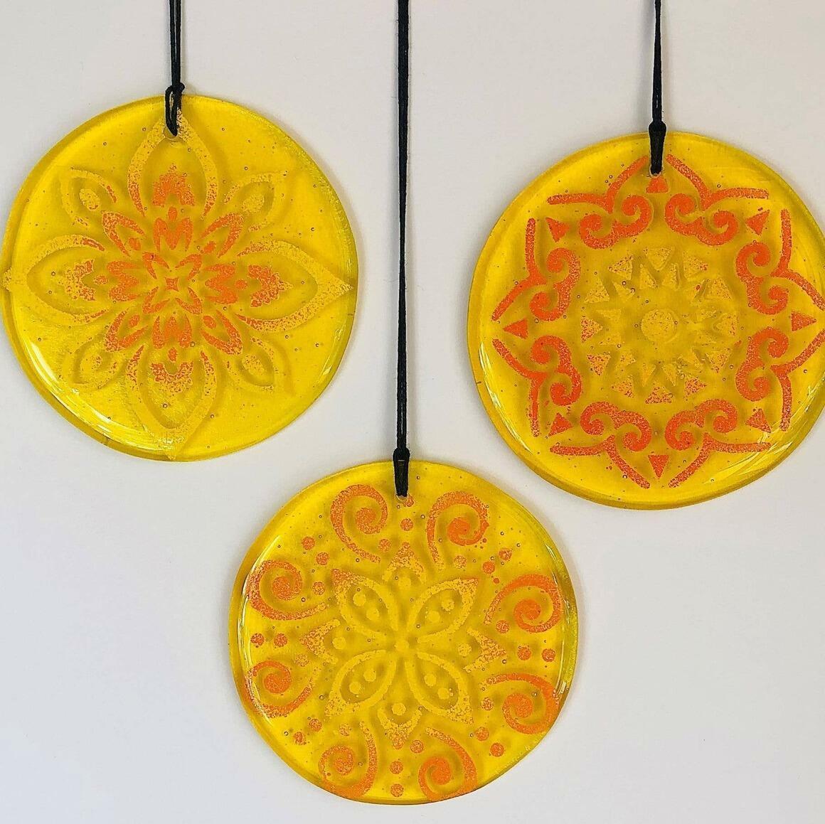 Glass Mandala Window Ornament Suncatcher - Sunshine Yellow | Trada Marketplace