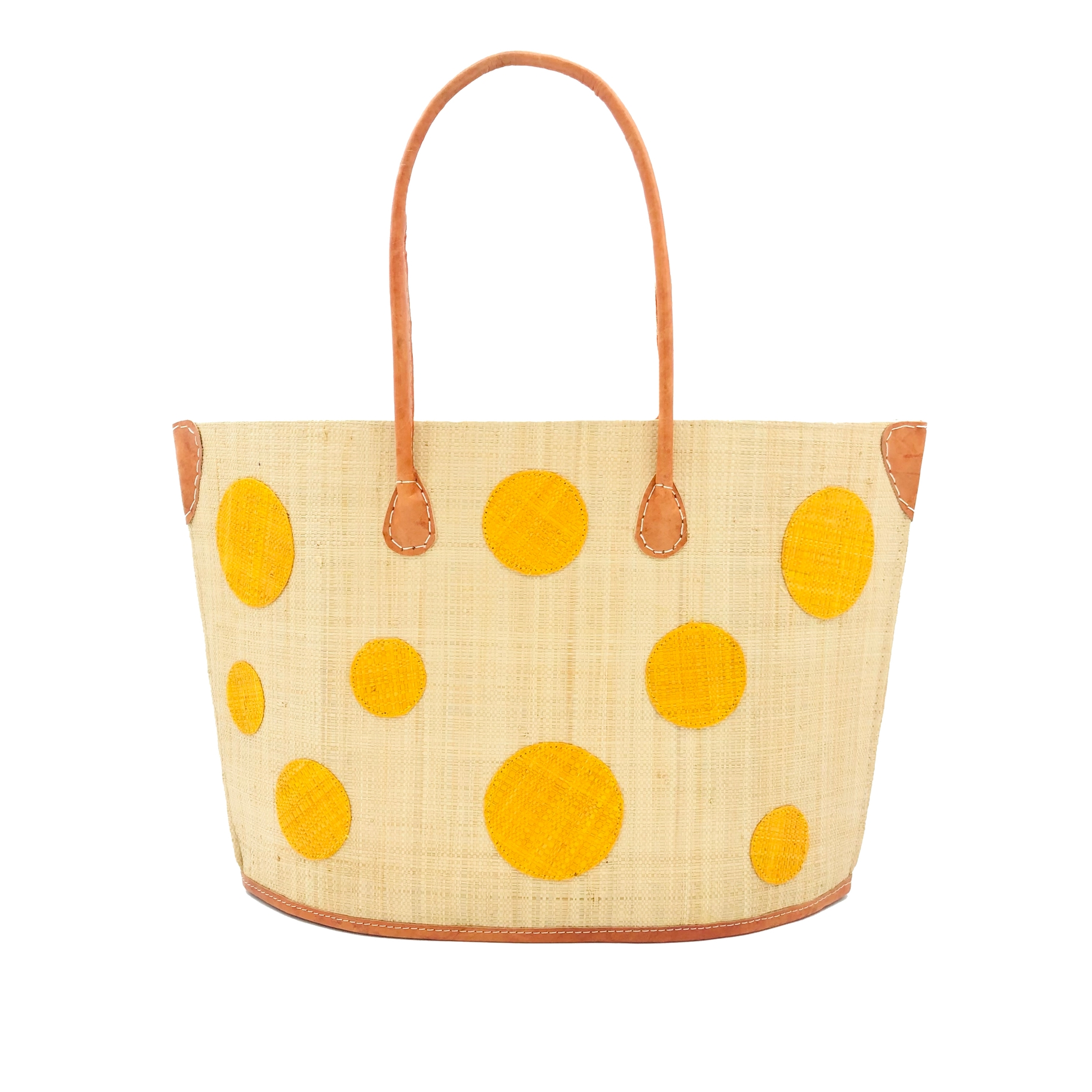 Capri Polka Dot Straw bag - Sunflower | Trada Marketplace