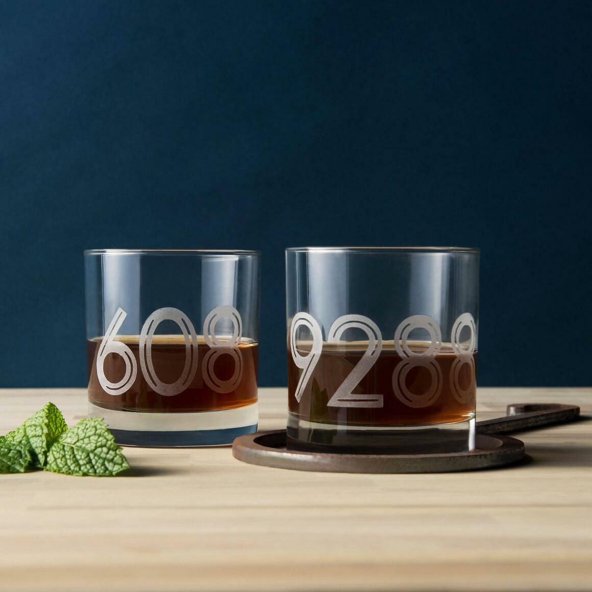 Personalized Area or Zip Code Etched Whiskey Glass, Inline   Trada Marketplace