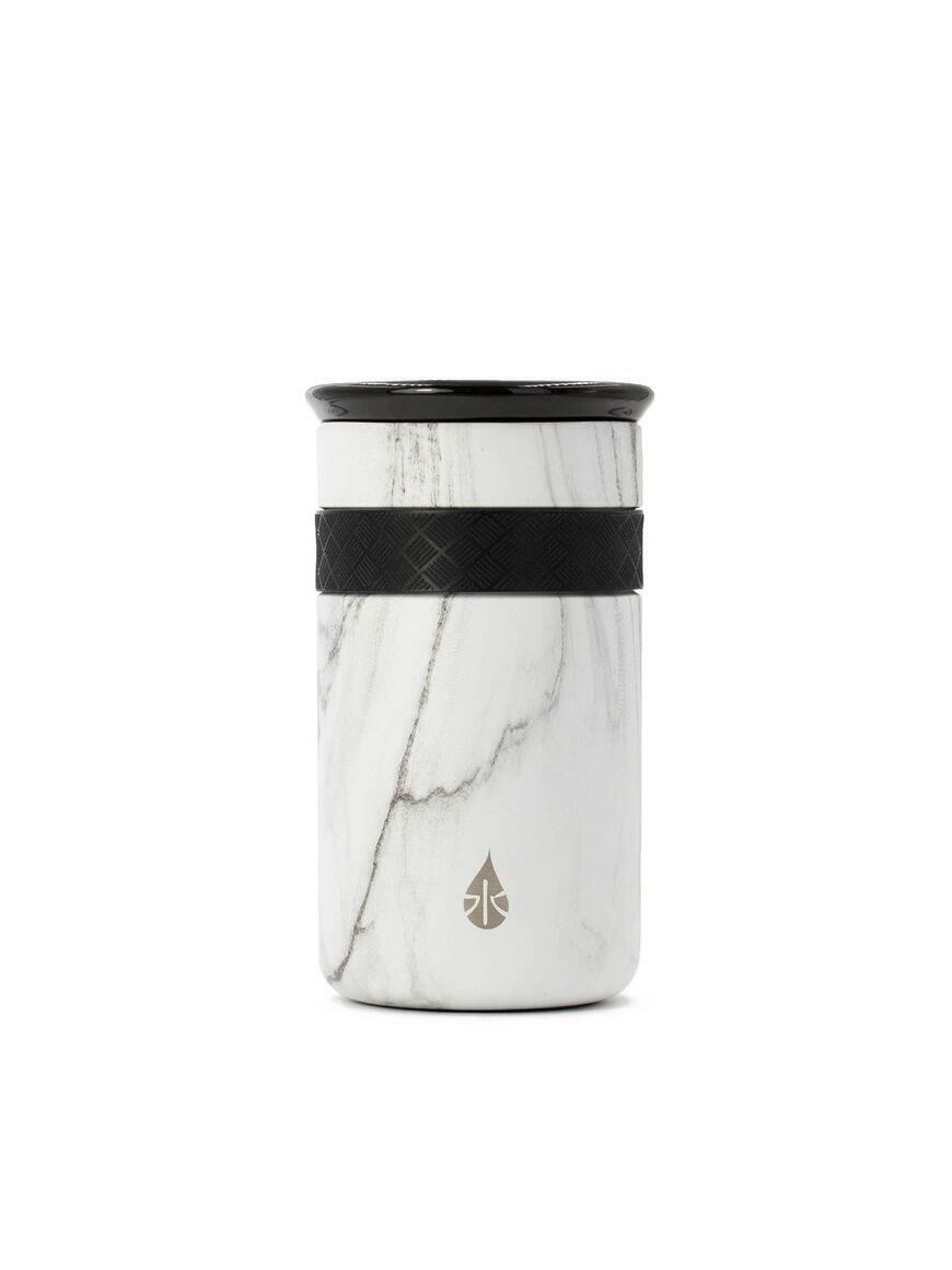 Artisan 12oz White Marble Tumbler with ceramic lid   Trada Marketplace