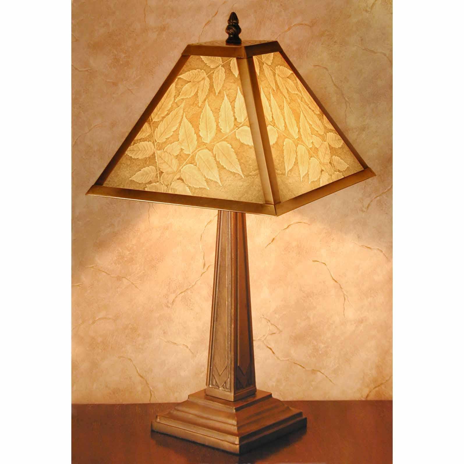 "Mission Style Lithophane Table Lamp ""Leaves""   Trada Marketplace"