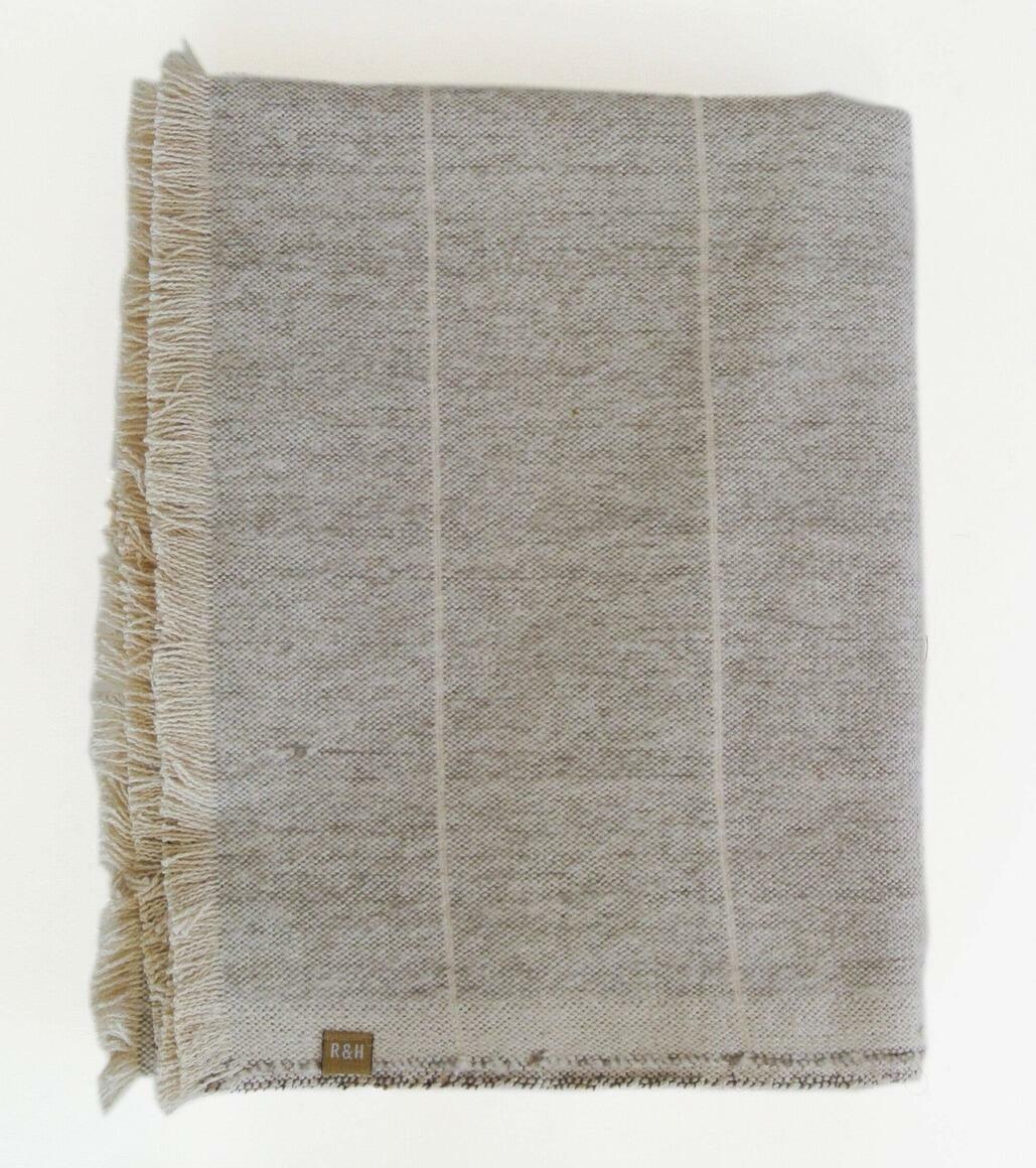 Brushed Stone Grey Stripe Throw | Trada Marketplace
