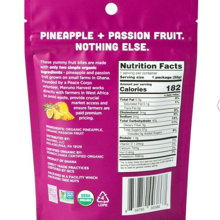 Mavuno Pineapple & Passion Fruit Organic Chewy Fruit Bites | Trada Marketplace