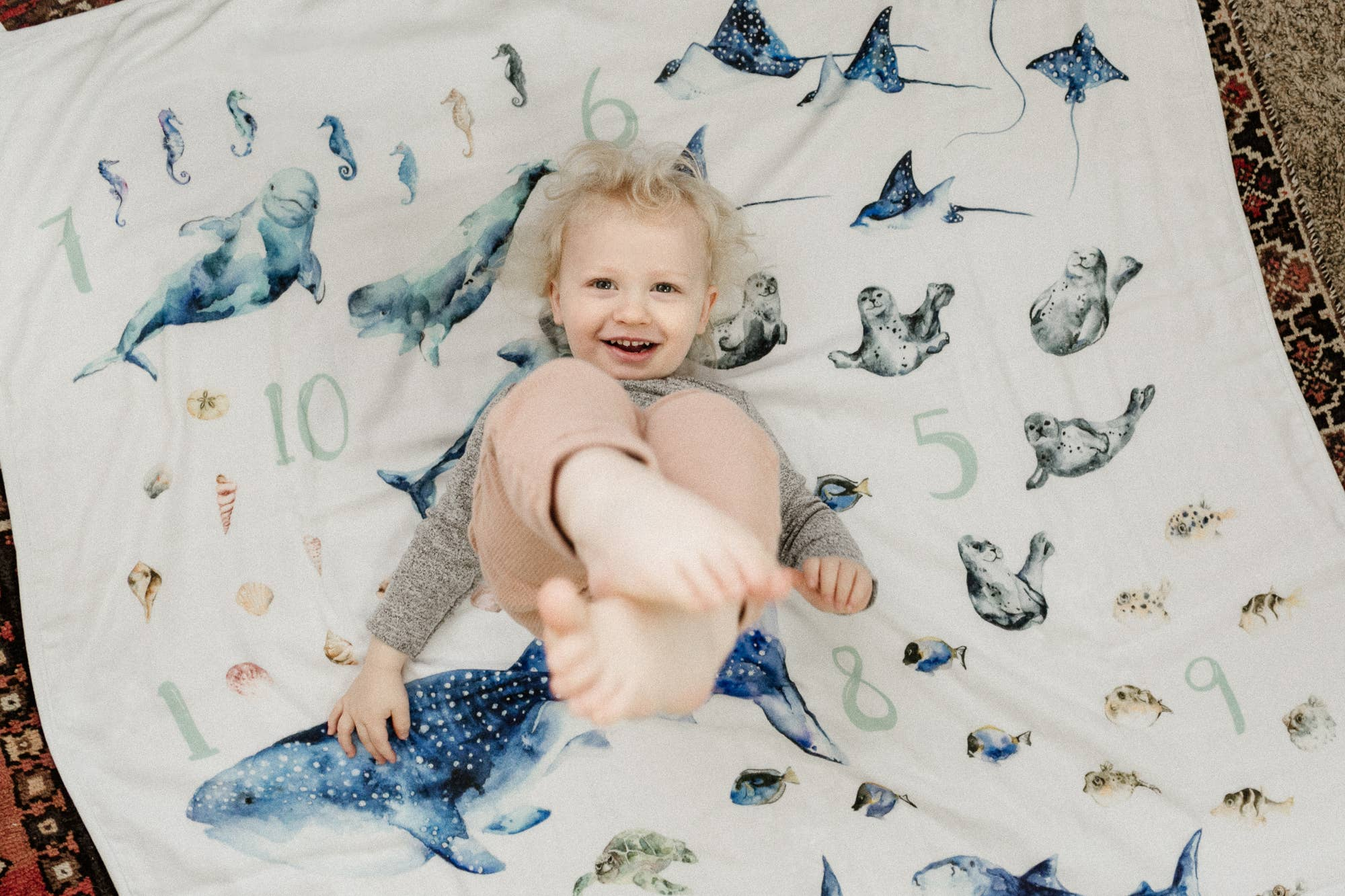 Ocean Animals and Numbers 1-10 Blanket | Trada Marketplace