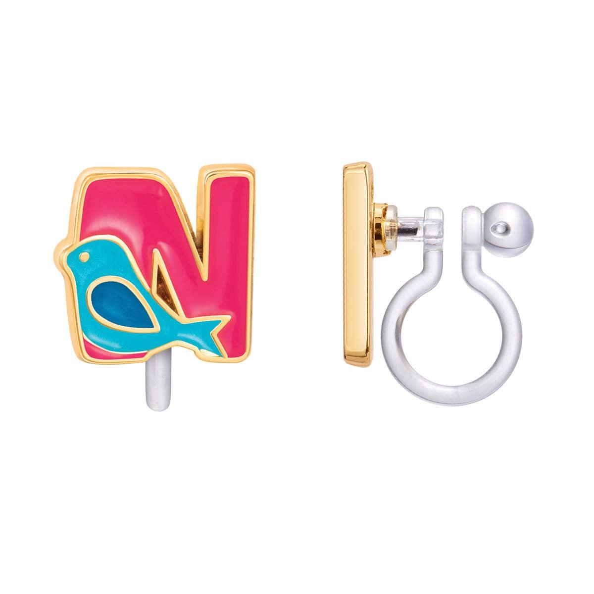 CLIP ON Cutie Initial Earrings- N   Trada Marketplace
