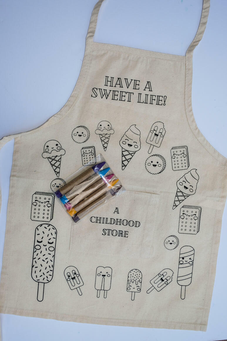 Ice Cream: CYO Artist Apron Kit with Eco Friendly Crayons | Trada Marketplace